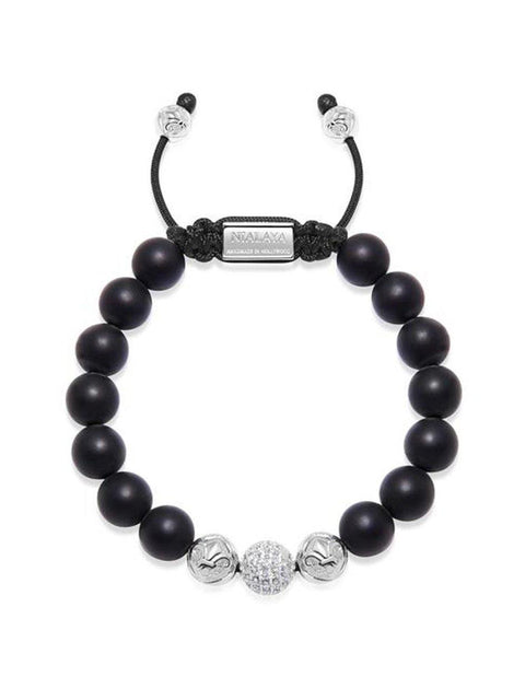 Men's Beaded Bracelet with Matte Onyx and Silver - Nialaya Jewelry