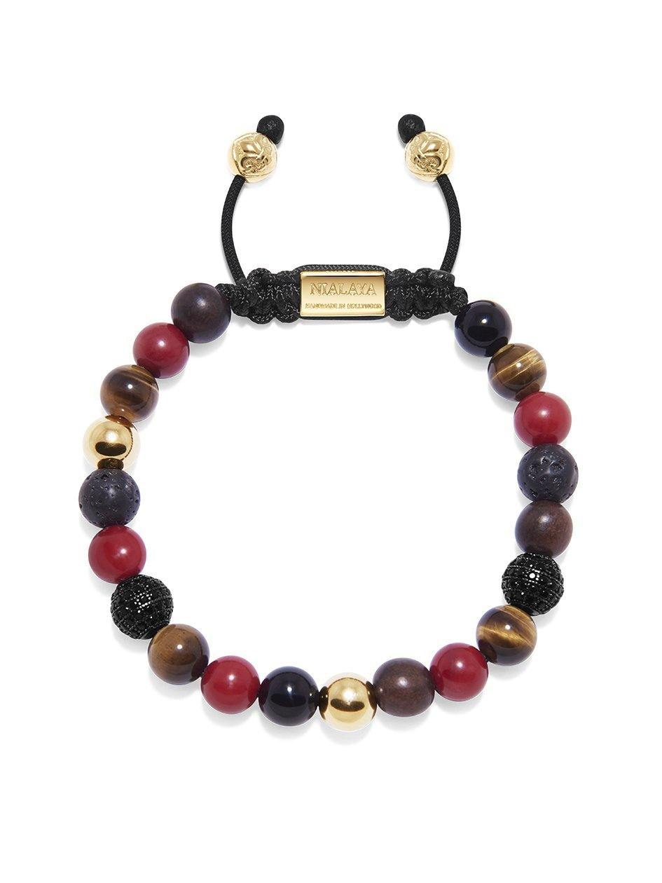 Men's Beaded Bracelet with  Red Vintage Trifocal Beads, Brown Tiger Eye, Lava Stone, Agate and Ebony