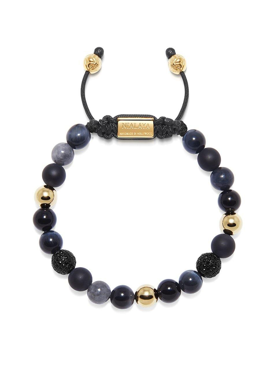 Men's Beaded Bracelet with Agate, Onyx, Grey Jade, and Blue Tiger Eye - NIALAYA INC
