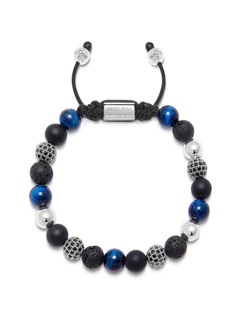 Men's Beaded Bracelet with Onyx, Blue Tiger Eye, Lava Stone and Silver - Nialaya Jewelry