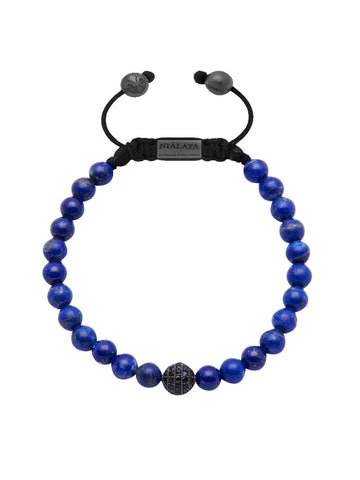 Men's Beaded Bracelet with Blue Lapis and Black CZ Diamond