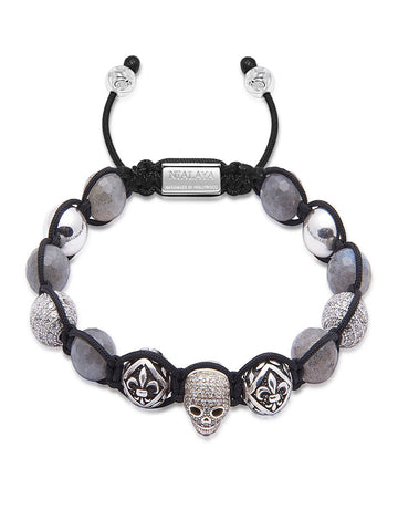 Men's Beaded Bracelet with Labradorite and Silver Skull