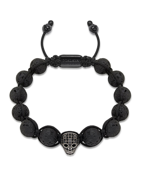 Men's Beaded Bracelet with Lava Stone and Black CZ Diamond Skull