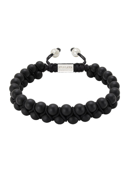 Men's Double-Beaded Bracelet with Matte Onyx - Nialaya Jewelry  - 1