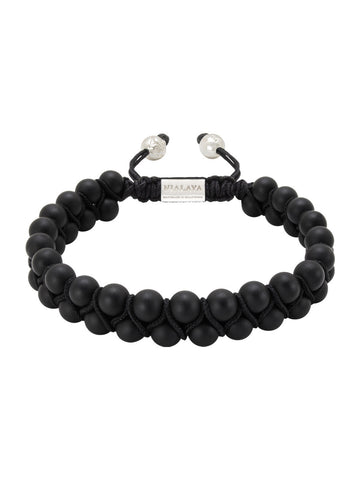 Men's Double-Beaded Bracelet with Matte Onyx
