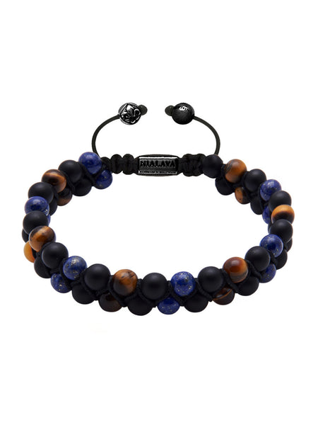 Men's Double-Beaded Bracelet with Tiger Eye, Matte Onyx and Blue Lapis - Nialaya Jewelry  - 1