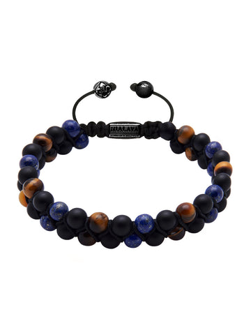 Men's Double-Beaded Bracelet with Tiger Eye, Matte Onyx and Blue Lapis