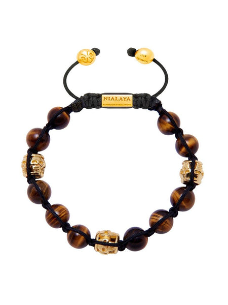 Men's Gold Bracelets With Brown Tiger Eye - Nialaya Jewelry