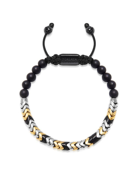 Men's Snake Bead Bracelet - Black, Gold and Silver - Nialaya Jewelry