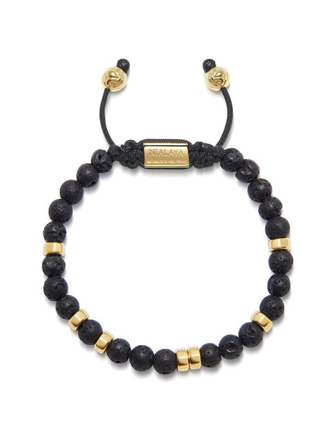 Men's Beaded Bracelet with Lava Stone and Gold
