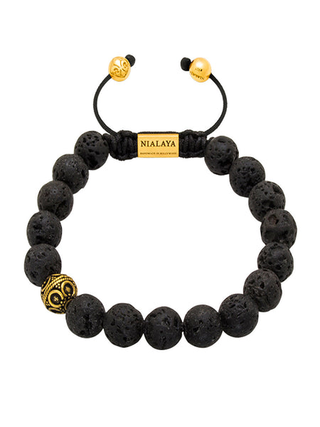 Men's Indian Goa Gold & Lava Stone - Nialaya Jewelry  - 1