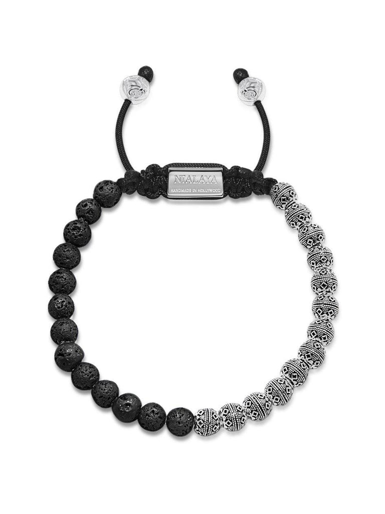 Men's Beaded Bracelet with Lava Stone and Indian Silver Cairo Beads