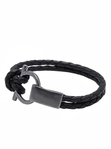 Men's Black Leather Bracelet with Black Rhodium Hook Closure