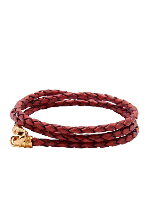 Leather Red Bolo Cord with Gold Lock - Nialaya Jewelry  - 1