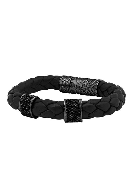 Leather Collection Soft Italian, Two Black CZ Diamond Beads & Black Ruthenium - Nialaya Jewelry  - 1