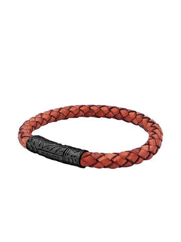 Leather Collection Brown Bolo Cord & Black Ruthenium - Nialaya Jewelry  - 1
