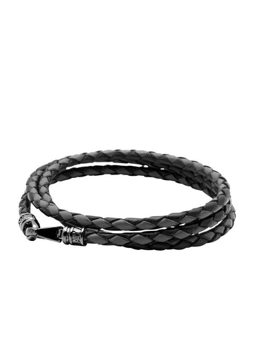 Leather Black and Grey Bolo Cord with Black Ruthenium Lock