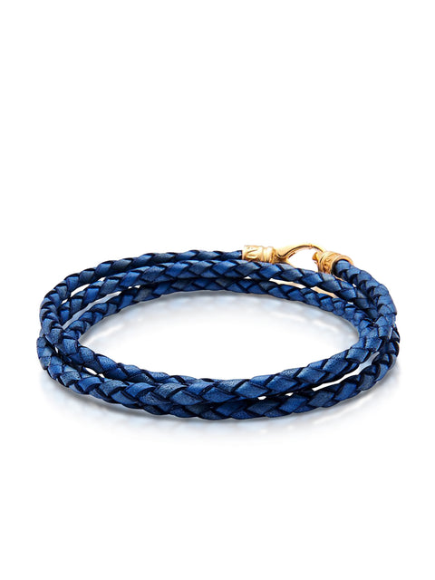 Leather Blue Bolo Cord with Gold Plated Lock