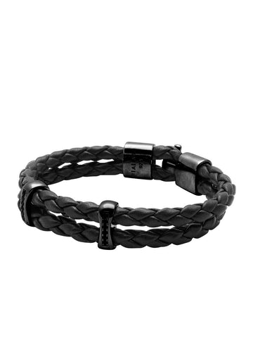Men's Black Leather Bracelet with Black Rhodium Chakra Beads