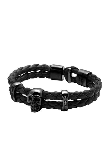 Men's Black Leather Bracelet with Black Rhodium Skull and Chakra Beads