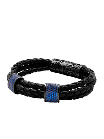 Leather With Black Rhodium Plated Blue CZ Diamonds