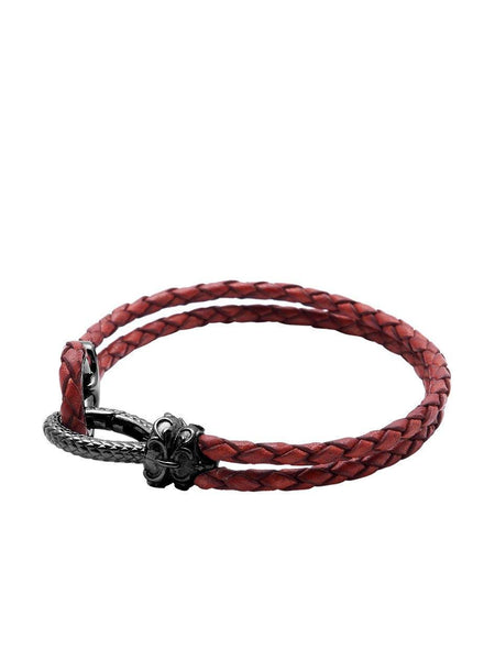 Men's Red Leather Bracelet with Black Rhodium Hook Clasp - Nialaya Jewelry  - 1