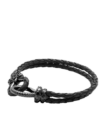 Men's Black Leather Bracelet with Black Rhodium Hook Clasp