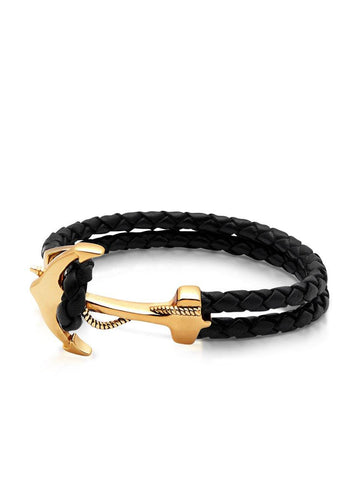 Men's Black Leather Bracelet with Gold Anchor