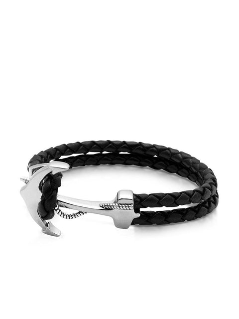 Men's Black Leather Bracelet with Silver Anchor