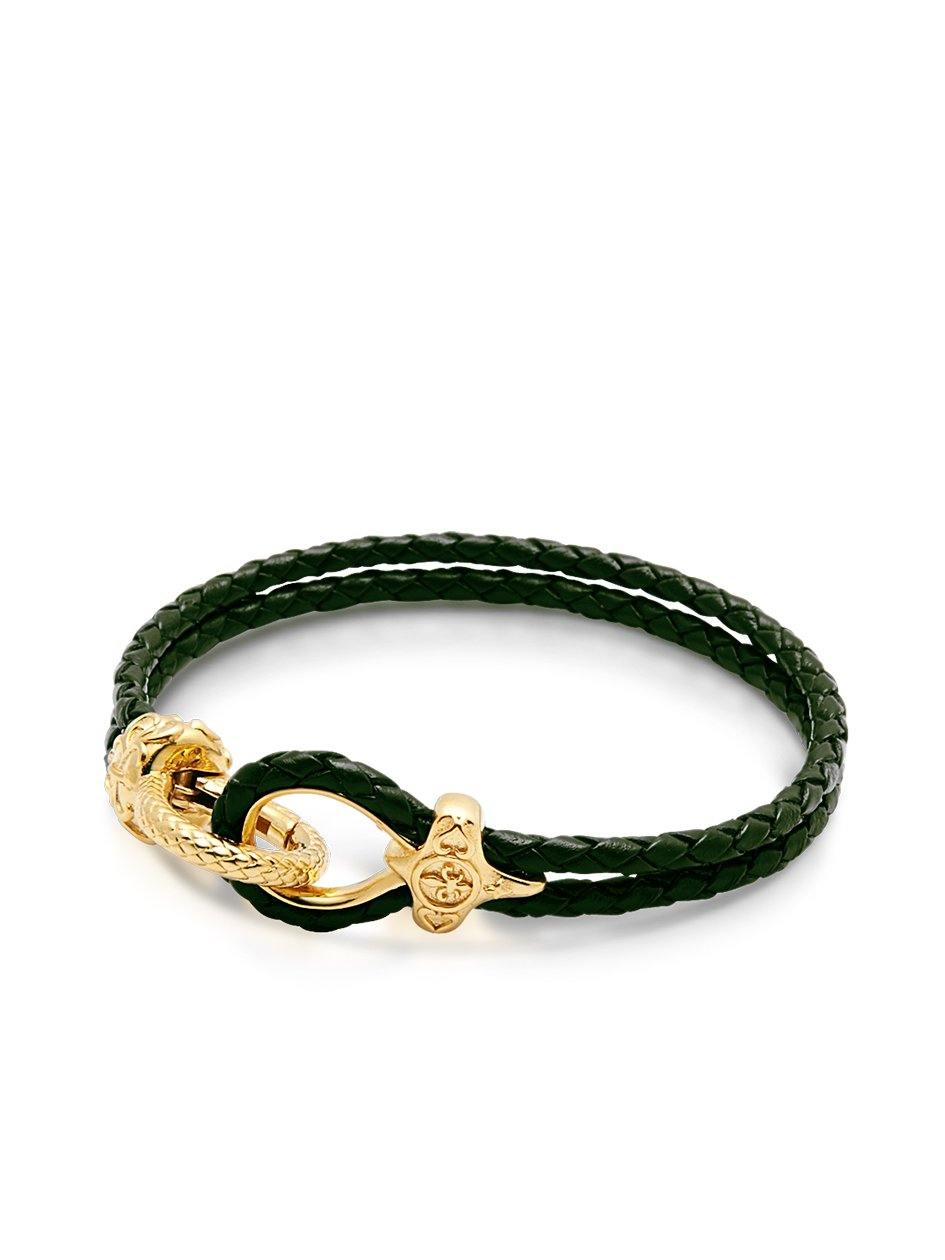 Men's Dark Green Leather Bracelet with Gold Hook Clasp