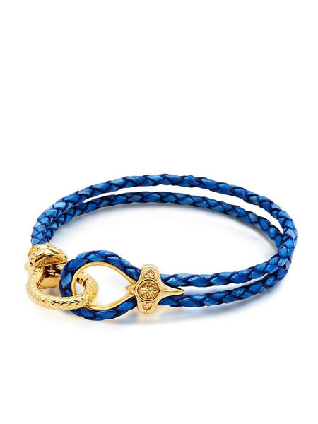 Men's Blue Leather Bracelet with Gold Hook Clasp - Nialaya Jewelry  - 3