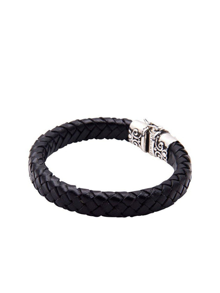 Men's Black Leather Bracelet With Silver - Nialaya Jewelry  - 3