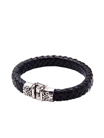 Men's Black Leather Bracelet With Silver