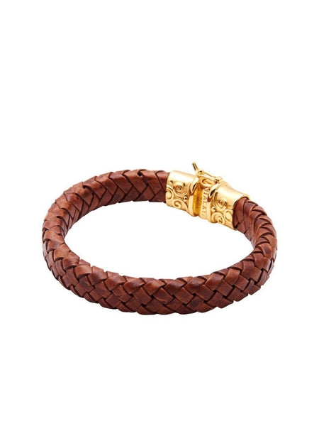 Men's Brown Leather Bracelet With Gold Lock - Nialaya Jewelry  - 3
