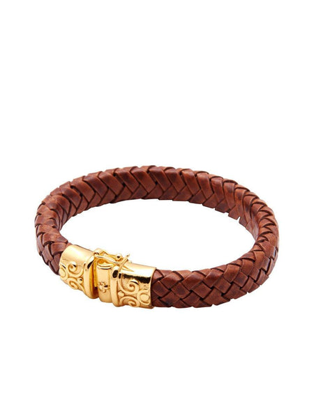 Men's Brown Leather Bracelet With Gold Lock - Nialaya Jewelry  - 1