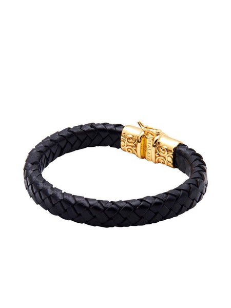 Black Leather With Gold Lock - Nialaya Jewelry  - 2