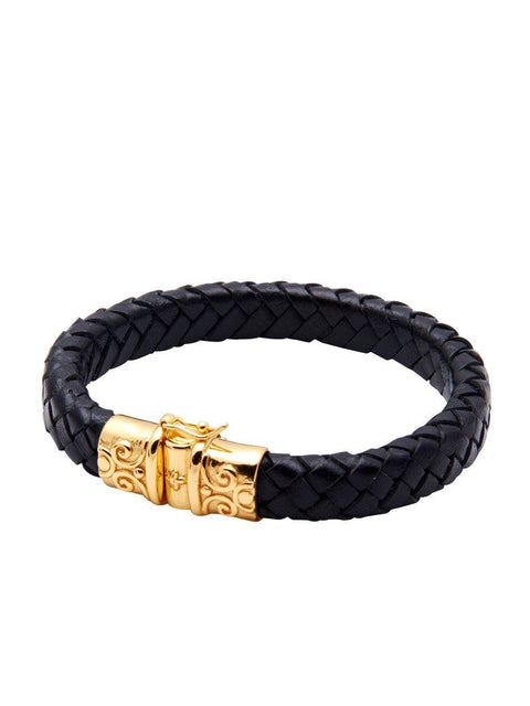 Black Leather With Gold Lock - Nialaya Jewelry  - 1