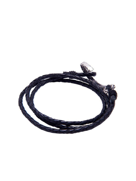 Men's Black Wrap-Around Leather Bracelet with Silver Hook Lock - Nialaya Jewelry  - 3