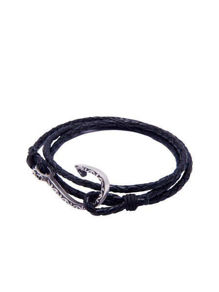 Men's Black Wrap-Around Leather Bracelet with Silver Hook Lock - Nialaya Jewelry  - 1