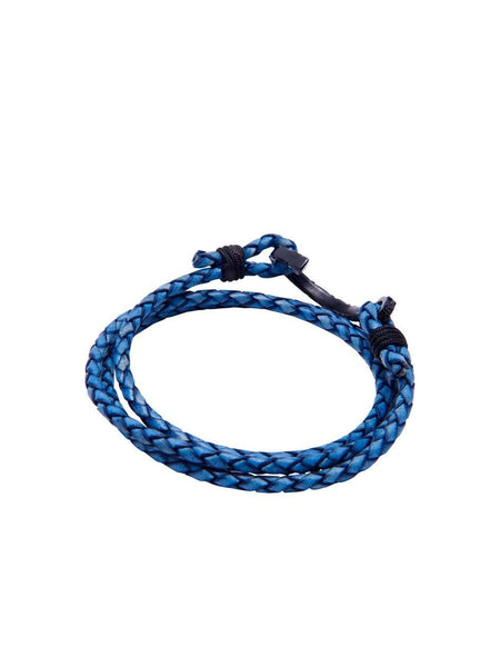 Men's Blue Wrap-Around Leather Bracelet with Black Hook Lock - Nialaya Jewelry  - 3