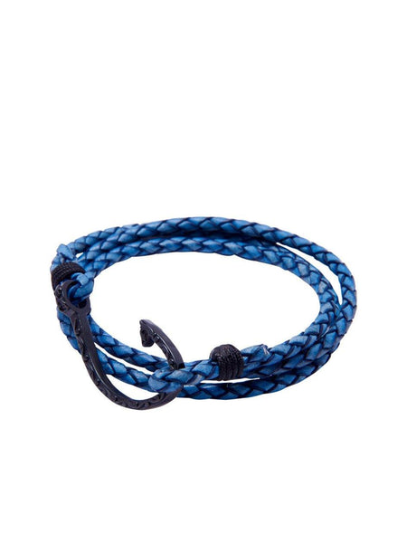 Men's Blue Wrap-Around Leather Bracelet with Black Hook Lock - Nialaya Jewelry  - 1