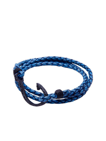 Men's Blue Wrap-Around Leather Bracelet with Black Hook Lock