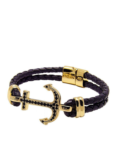 Men's Black Leather Bracelet With Gold Anchor - Nialaya Jewelry  - 1