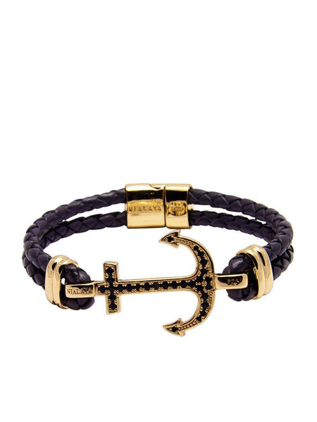 Men's Black Leather Bracelet With Gold Anchor - Nialaya Jewelry  - 4