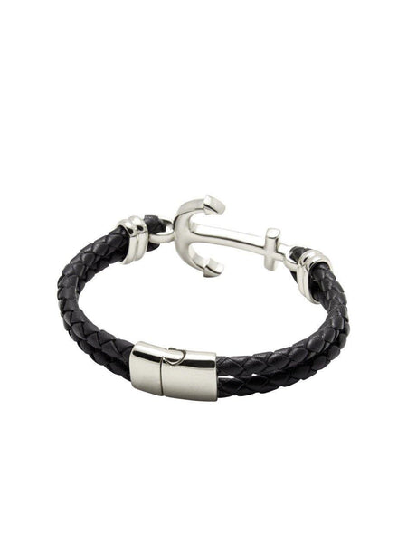Men's Black Leather Bracelet with Silver Anchor - Nialaya Jewelry  - 3