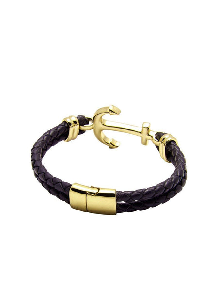 Men's Black Leather Bracelet With Gold Anchor - Nialaya Jewelry  - 3