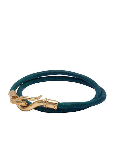 Men's Green Double-Wrap Leather Bracelet with Gold Hook Lock - Nialaya Jewelry  - 1