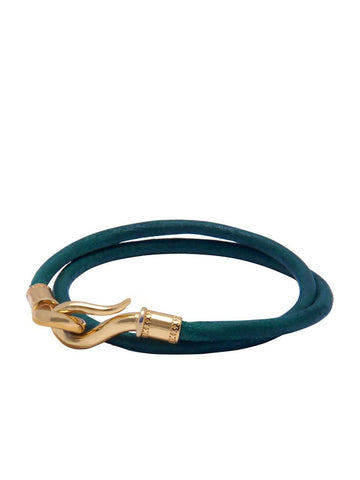 Men's Green Double-Wrap Leather Bracelet with Gold Hook Lock