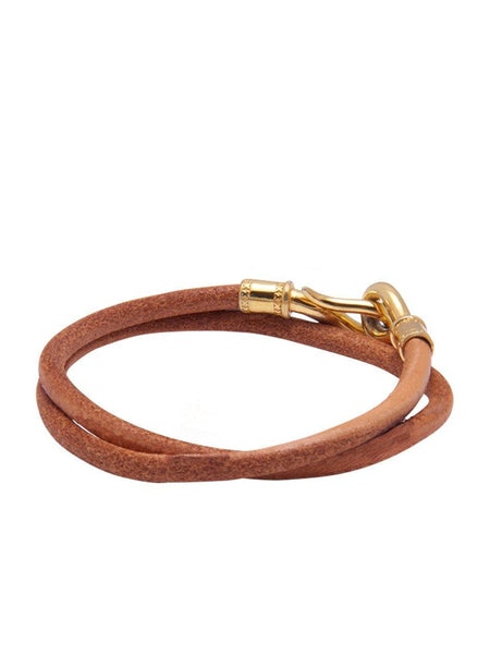 Men's Brown Double-Wrap Leather Bracelet with Gold Hook Lock - Nialaya Jewelry  - 3
