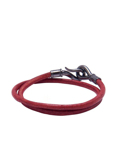 Men's Red Double-Wrap Leather Bracelet with Black Hook Lock - Nialaya Jewelry  - 3